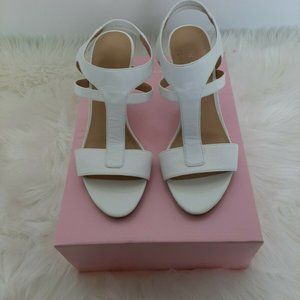 Nine West  Casual Ankle Strap, White Heels Nice 6M